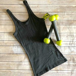 "Zumba Black ""Charm"" Long Length Racerback Tank Top"